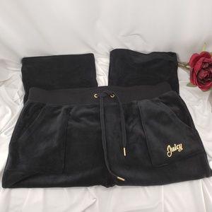 Juicy Couture Boot Cut Black Velour Pants NWT